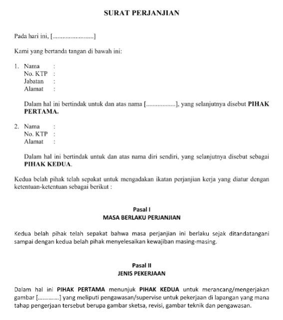Contoh Surat Perjanjian Mengerjakan Gambar Desain, Sketsa & Rancangan Resmi Format Word