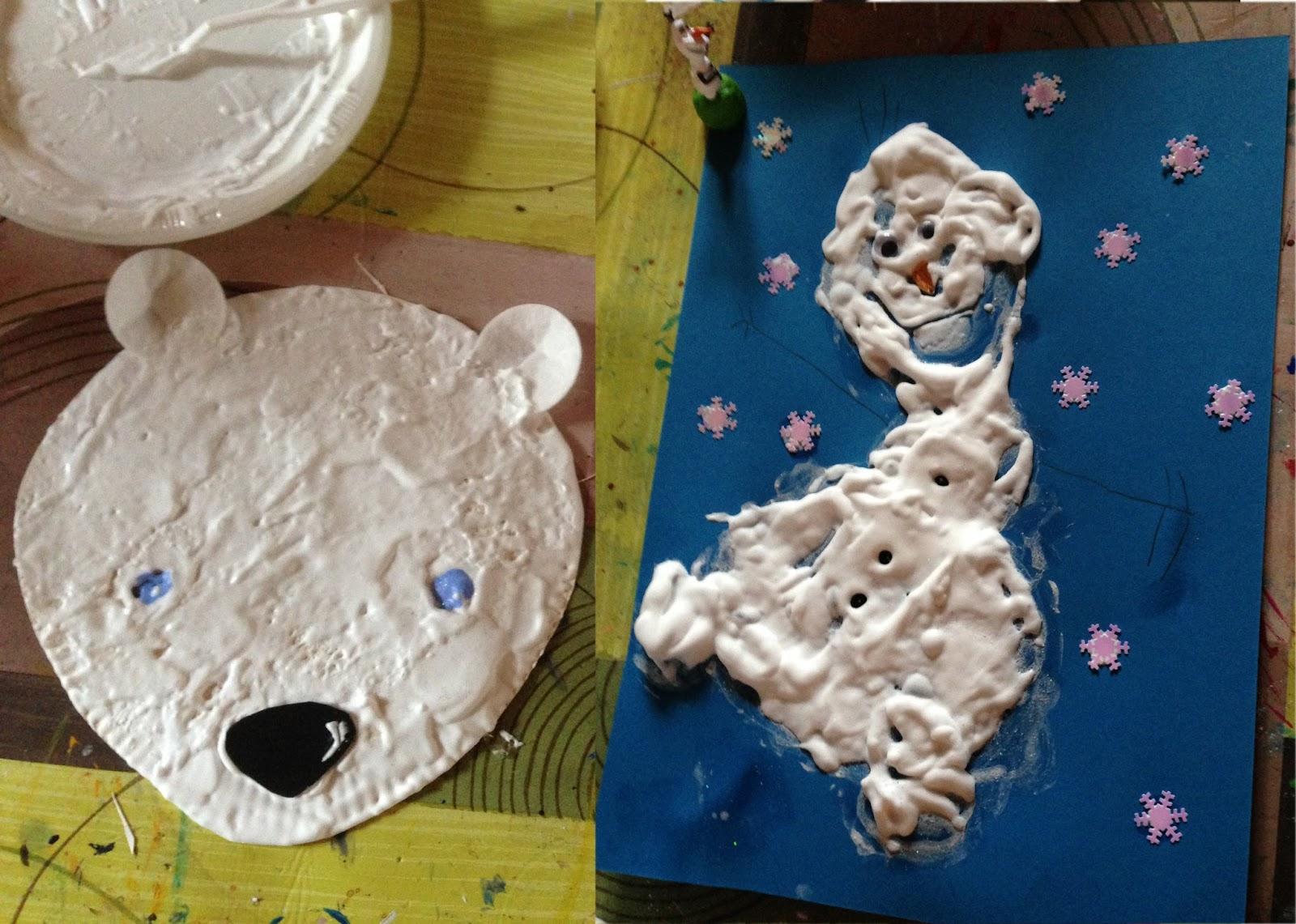 Peinture Blanche A Paillette la boite à idées de l' atelier 3b* * *: peinture mousse hivernal