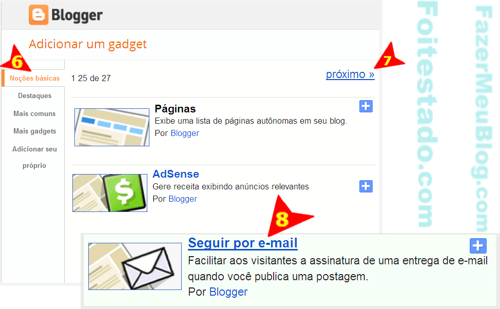 Colocar gadget newsletter em blogspot da plataforma blogger nova interface