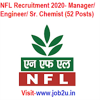 NFL Recruitment 2020, Manager, Engineer, Sr. Chemist (52 Posts)