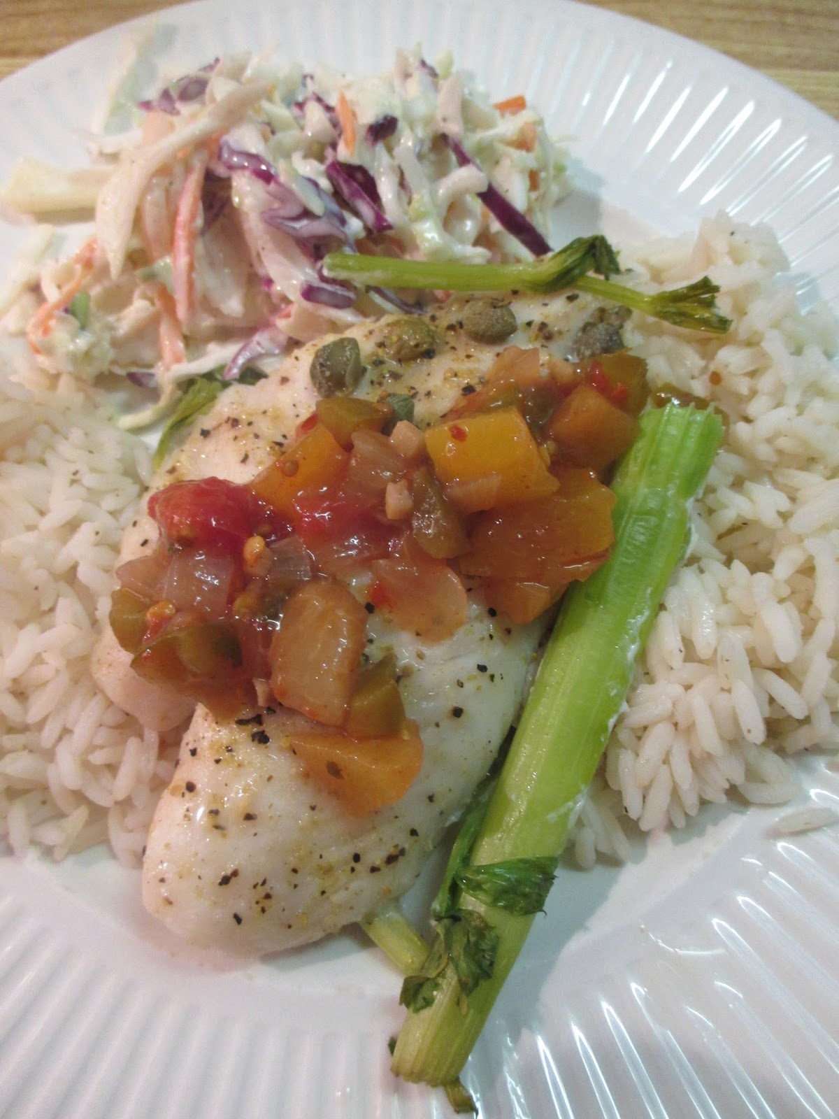 Just my Stuff: Tilapia with Spicy Peach Salsa