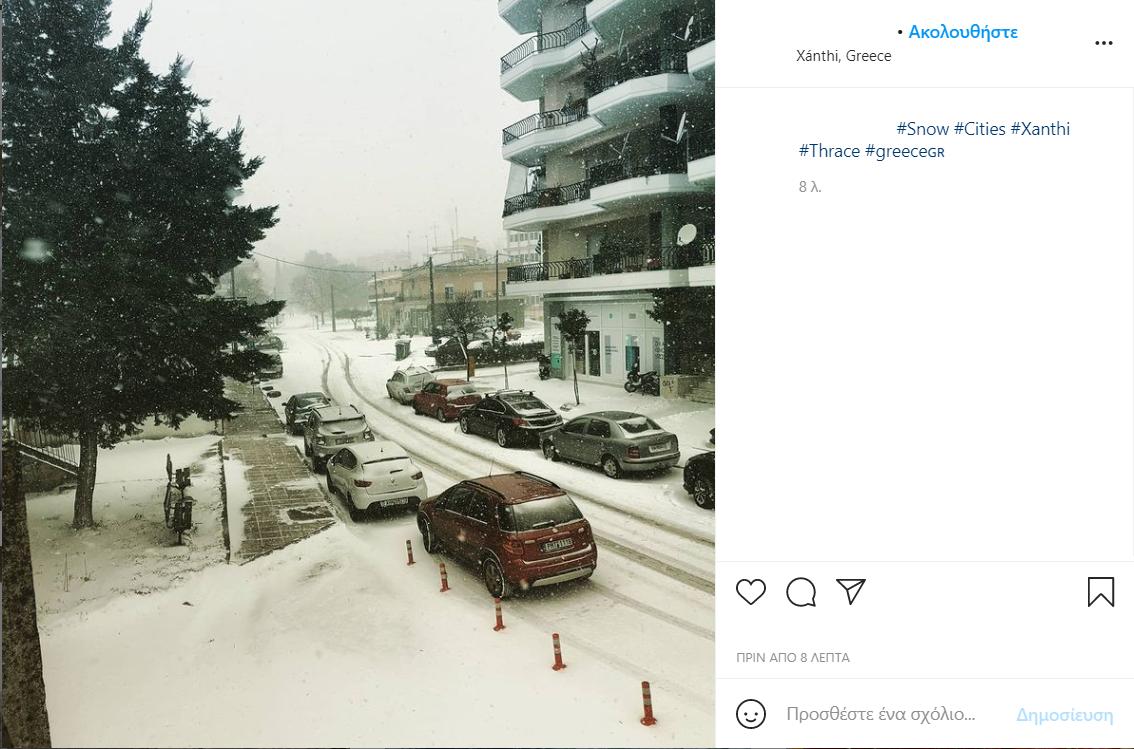 Πρωταγωνιστεί στα social media η χιονισμένη Ξάνθη