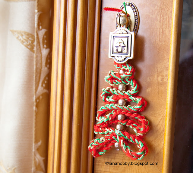 Crochet Ribbon and Beads Christmas Tree