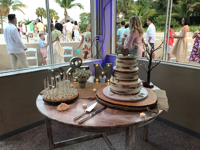 naked cake, cake pops, stain painted table, marquee initials, michaels, cake, wedding cake