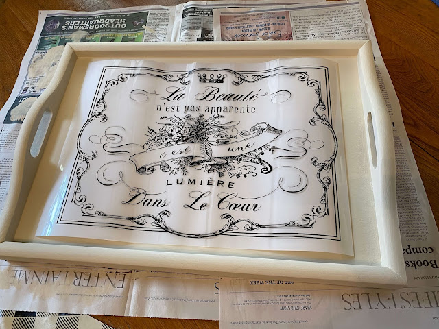 Photo of a decor transfer laying on a tray top