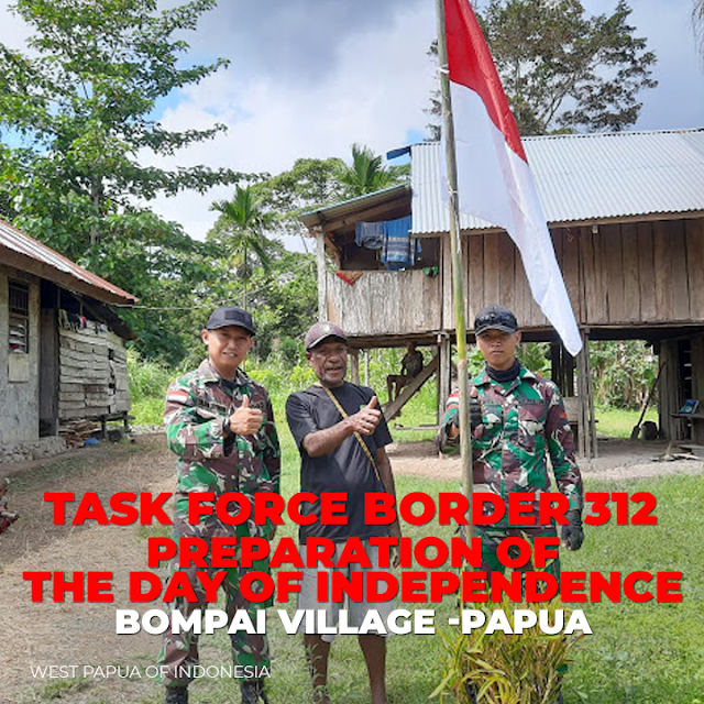 Welcoming the 75th Indonesian Independence Day, TNI Distributes and Waves the Red and White Flag in Bompai Village, Papu