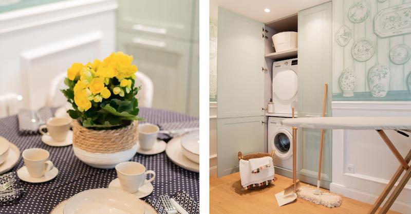 Armario de la colada en la cocina (oculta lavadora y secadora)