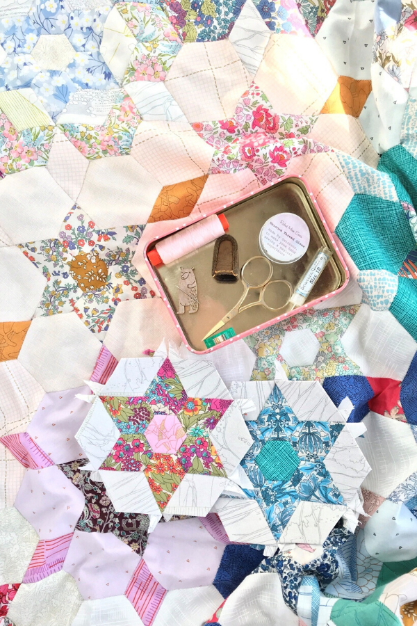 Inside Ange's Belle & Boo sewing tin with her EPP essentials | What's In Your Sewing Bag? | Shannon Fraser Designs #sewingkit #epp