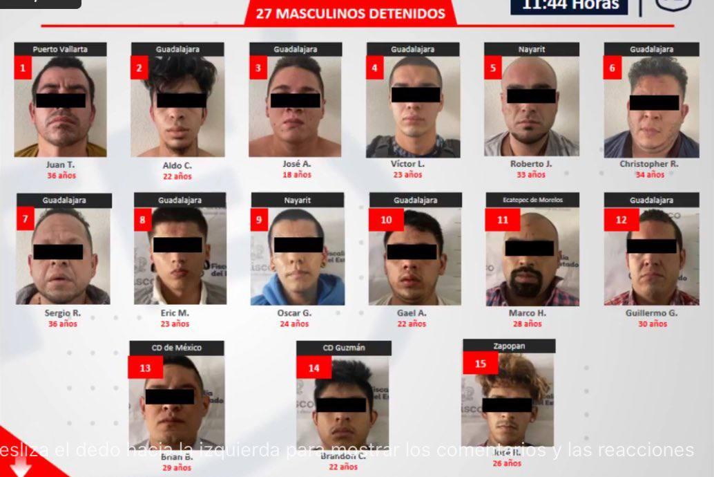 Reportan que los 33 detenidos tras enfrentamiento en la Colonia Chapalita de Zapopan; Jalisco, pertenecen al CJNG