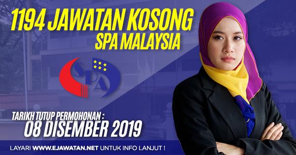 jawatan kosong kerajaan SPA Malaysia disember 2019