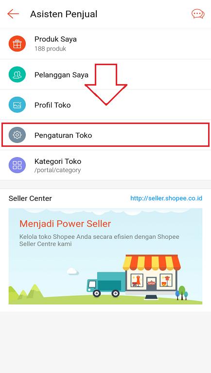 Pengaturan Toko di Aplikasi Marketplace Shopee Pada Smartphone.