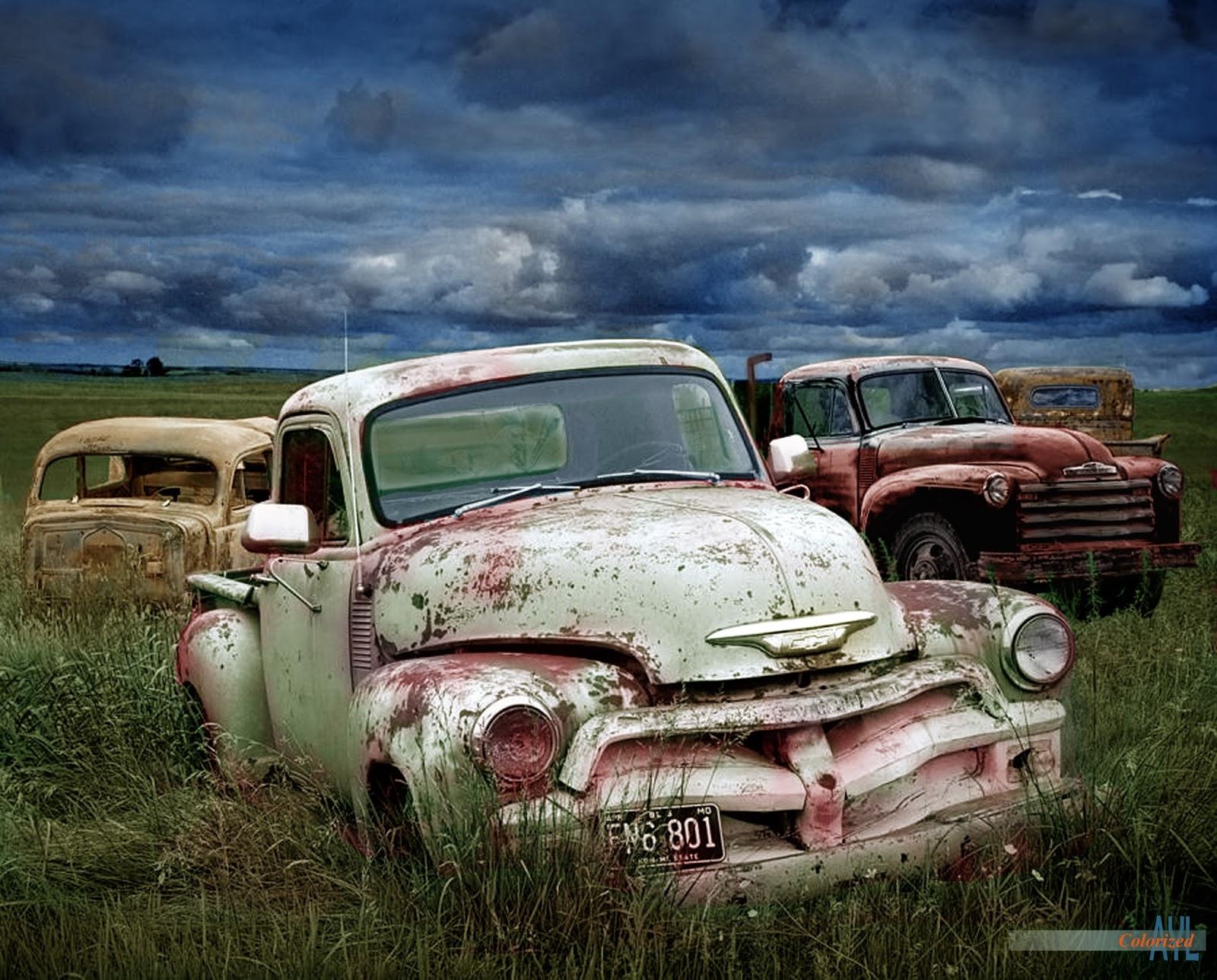 Colors for a Bygone Era: A Junkyard of vintage Pick-ups