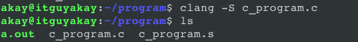 clang option for C programming linux