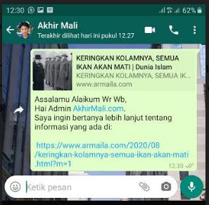 Chat Whatsapp Langsung Mengarah Ke Link Artikel Khusus (Terkait) Untuk Olshop