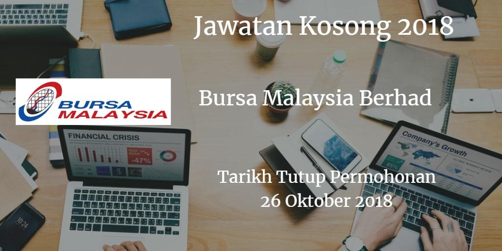 Jawatan Kosong Bursa Malaysia Berhad 26 Oktober 2018
