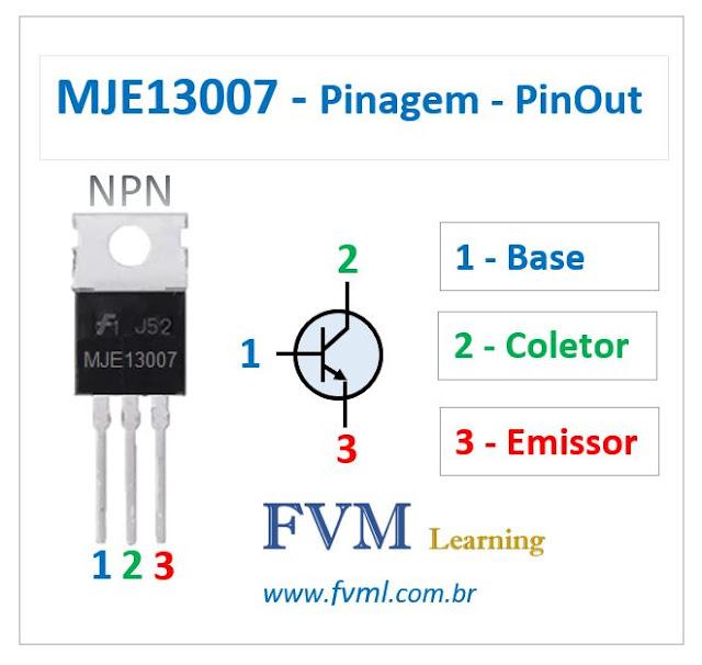 Pinagem - Pinout - Transistor - NPN - MJE13007 - Características