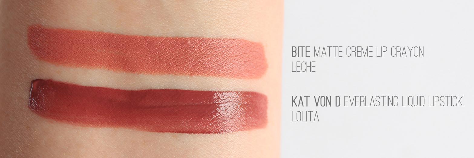 SEPHORA NEW ZEALAND | Haul - Reviews + Swatches - Bite Beauty Matte Creme Lip Crayon in Leche + Kat Von D Everlasting Liquid Lipstick in Lolita - CassandraMyee