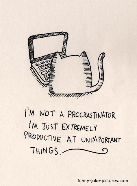 Funny procrastination cat cartoon joke image