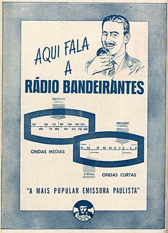 Propaganda antiga da Rádio Bandeirantes veiculada em 1954