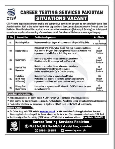 CTSP Internal Staff Jobs 2021
