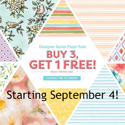 Buy 3, Get 1 Free Stampin' Up! Designer Series Paper Sale - begins September 4 - shop with Nicole Steele The Joyful Stamper