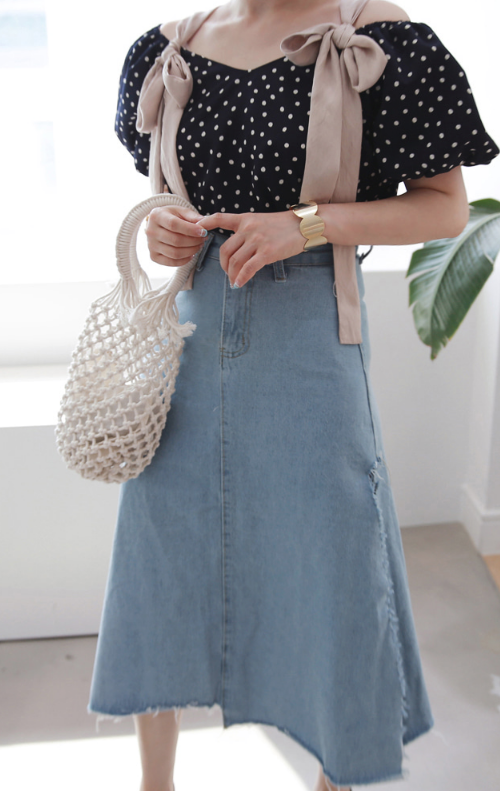 High Side Slit Denim Skirt