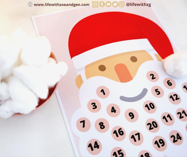 Free Christmas activities for kids. Advent calendar, santa claus countdown, christmas tree countdown. Life with ZG. Homeschooling PH.