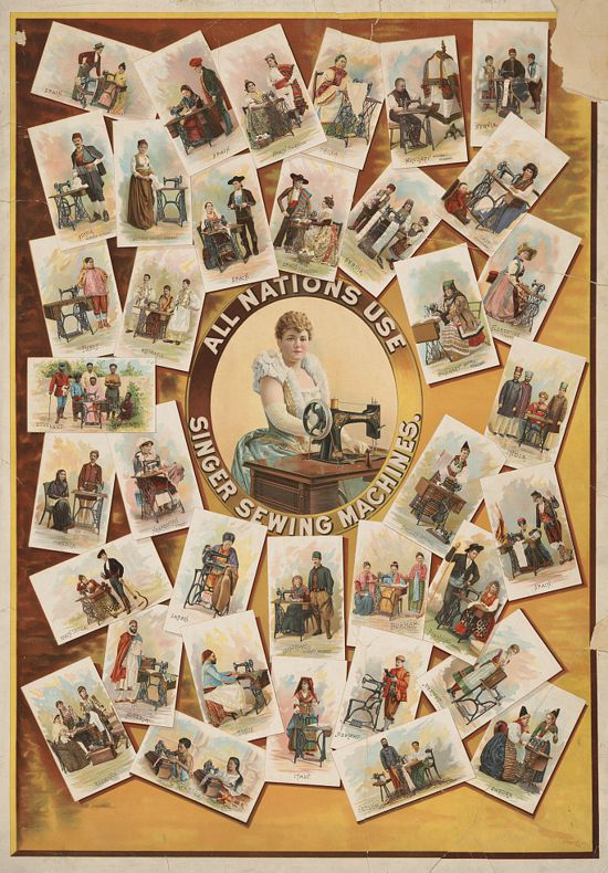 Ad poster 1892 - All nations use Singer sewing machines