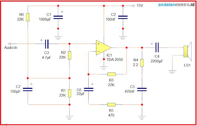 Skema rangkaian power amplifier TDA 2050 single supply sederhana
