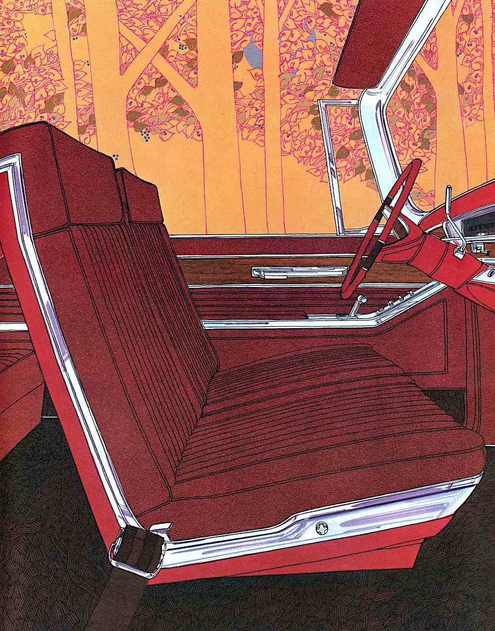 a 1960s illustration of stylish red car seats