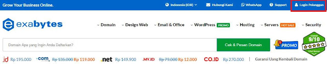 Tombol Login Exabytes Indonesia