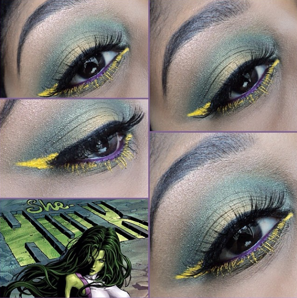 She Hulk Makeup with Aqua Cream and BH Cosmetics and Glamour Doll Eyes