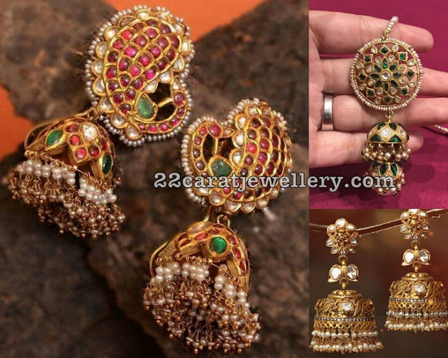Trendy Long Kundan Jhumkas in 22 Carat Gold