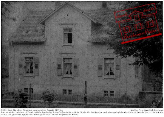 Bensheimer Häuser - damals und heute - Foto vermutlich zwischen 1877 und 1888 der Auerbacher Straße 76 (heute Darmstädter Straße 50). Das Haus hat noch die ursprüngliche klassizistische Fassade, die 1911 in eine von Joseph Stoll  gestaltete Jugendstilfassade in Sgraffito-Putz Technik  umgewandelt wurde.