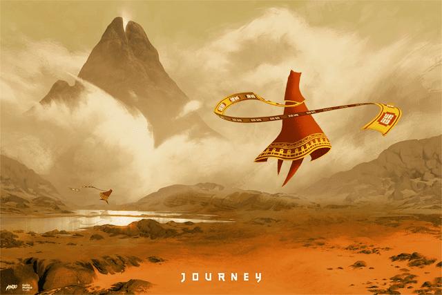 Portada del videojuego Journey, fondo de montañas en colores castaños, en primer plano una figura con túnica roja flotando