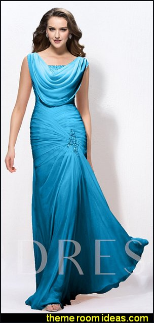 Cowl Neck Beading Pleats Evening Dress party dress evening dress wedding dress engagement party dress
