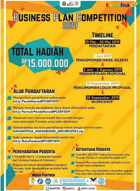 Lomba Bisnis Plan Diponegoro Entrepreneur Festival 2019 Untuk Mahasiswa