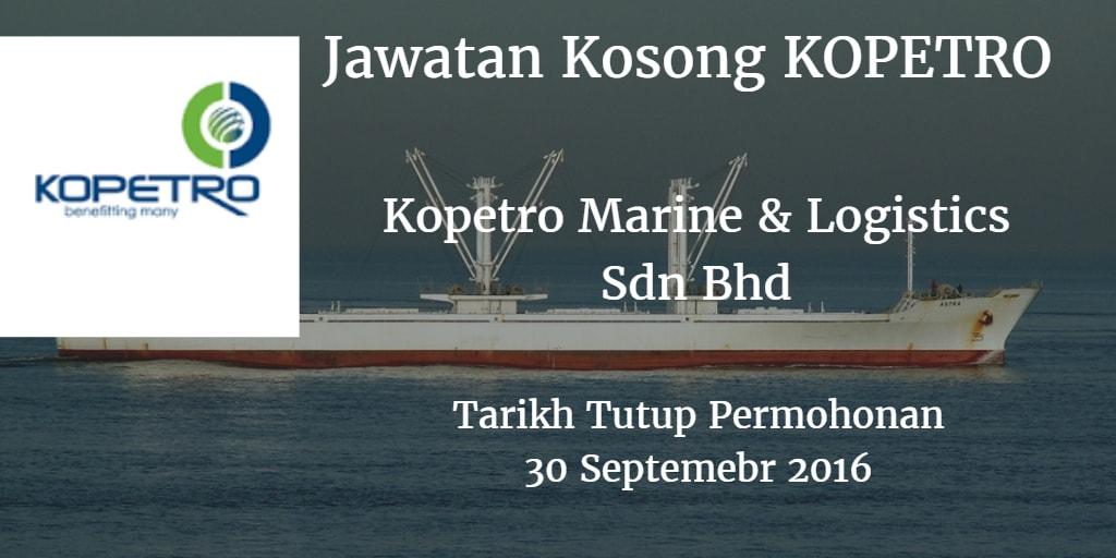Jawatan Kosong Kopetro Marine & Logistics Sdn Bhd 30 September 2016
