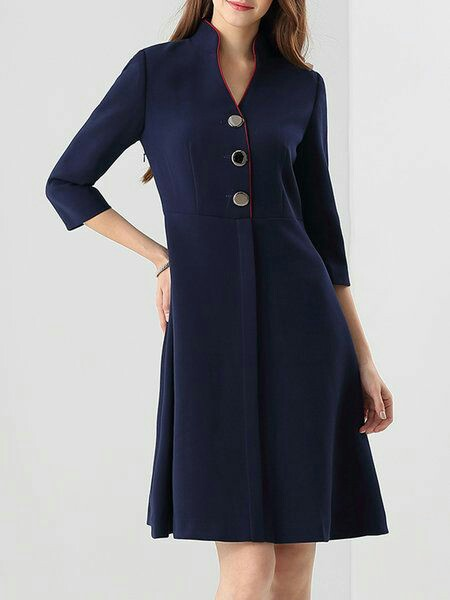Dark blue stand collar midi dress
