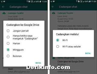 menjadwalkan backup chat WA ke gooogle drive
