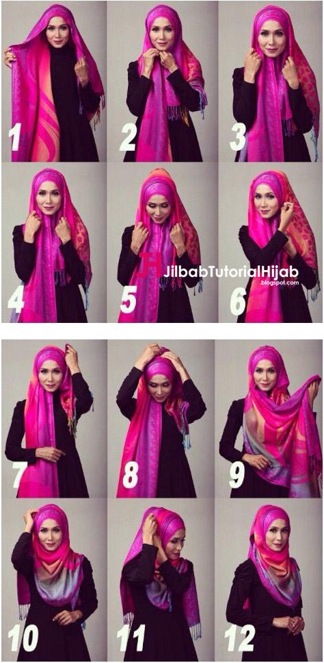 Kumpulan Gambar Tutorial Cara Memakai Hijab Acara Formal