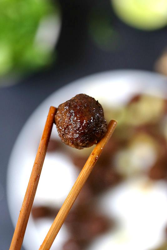 Boulettes de viande, sauce soja (cuites au four)
