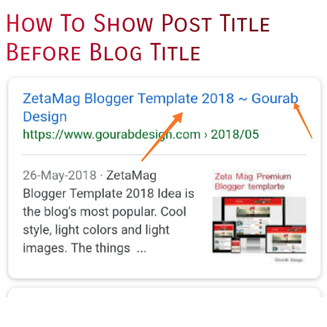 How to make post title appear before blog name