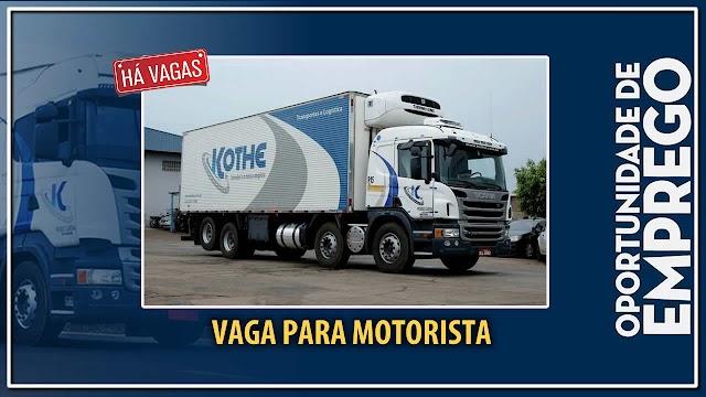 Transprotadora Kothe abre vagas para Motorista em Goiânia