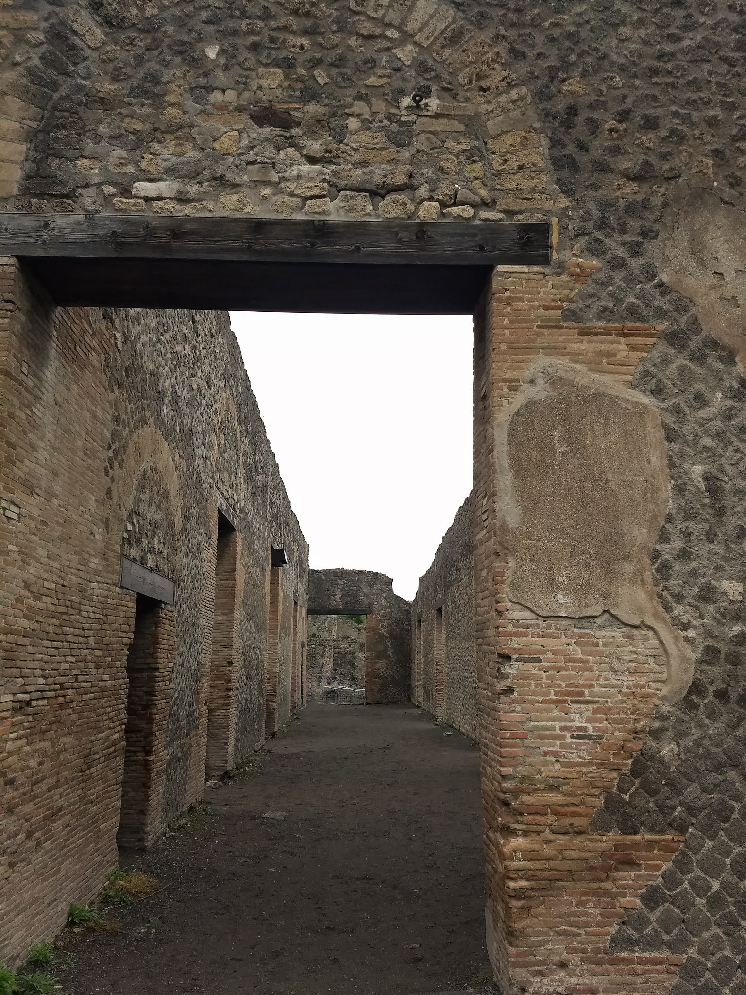 Close up of doorway architecture in the ancient city of Pompeii.