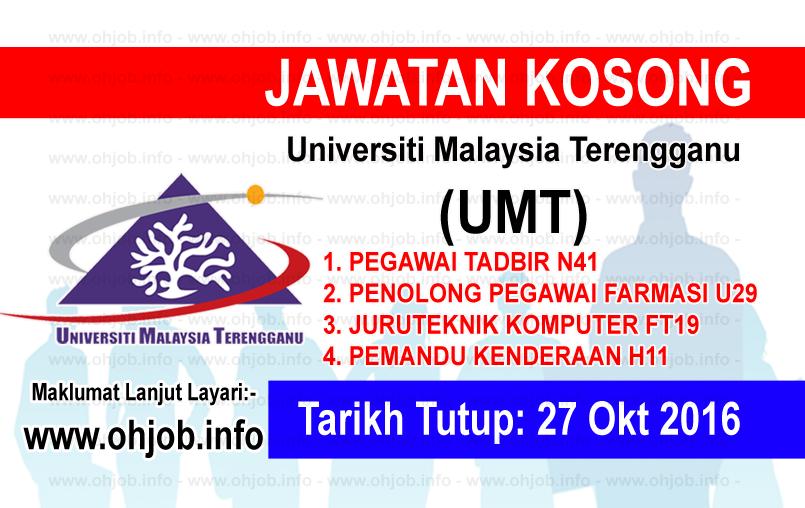 Jawatan Kerja Kosong Universiti Malaysia Terengganu (UMT) logo www.ohjob.info oktober 2016