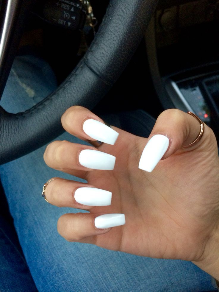 White Out Coffin Claw Nails