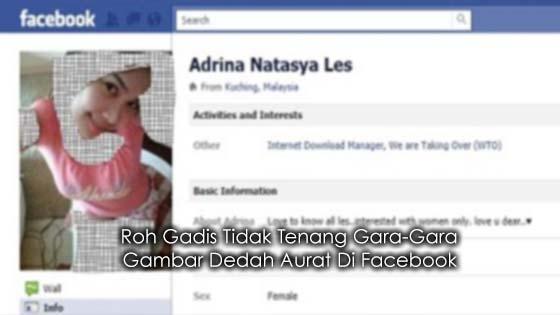 Roh Gadis Tidak Tenang Gara-Gara Gambar Dedah Aurat Di Facebook