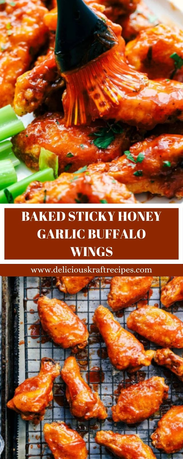 BAKED STICKY HONEY GARLIC BUFFALO WINGS