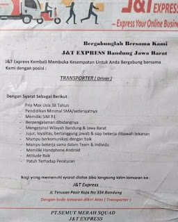 Karir Lowongan Kerja J&T Bandung Terbaru 2018